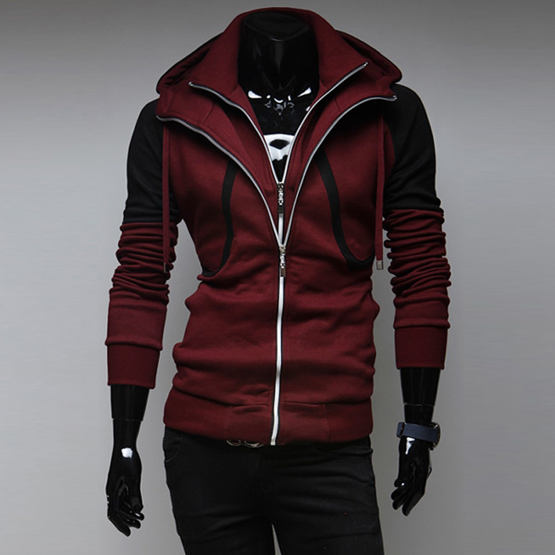 Famous Sportswear Fleece Hooded Jacket Men, 2015 Brand New Fashion Casual Slim Fit Contrast Color Hoodies Coat Male,Dropship - Beautiful girl wedding dress store