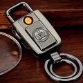 711 car keychain charge lighter windproof usb electronic cigarette lighter personalized metal flashlight