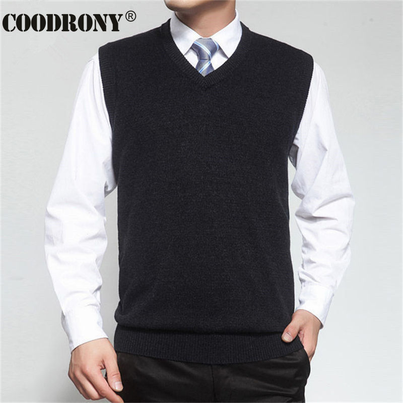 COODRONY Autumn Winter Cashmere Classic Vest Sweater Men Sleeveless Sweaters Solid Color V-Neck Wool Pullovers Men Jersey Hombre(China (Mainland))
