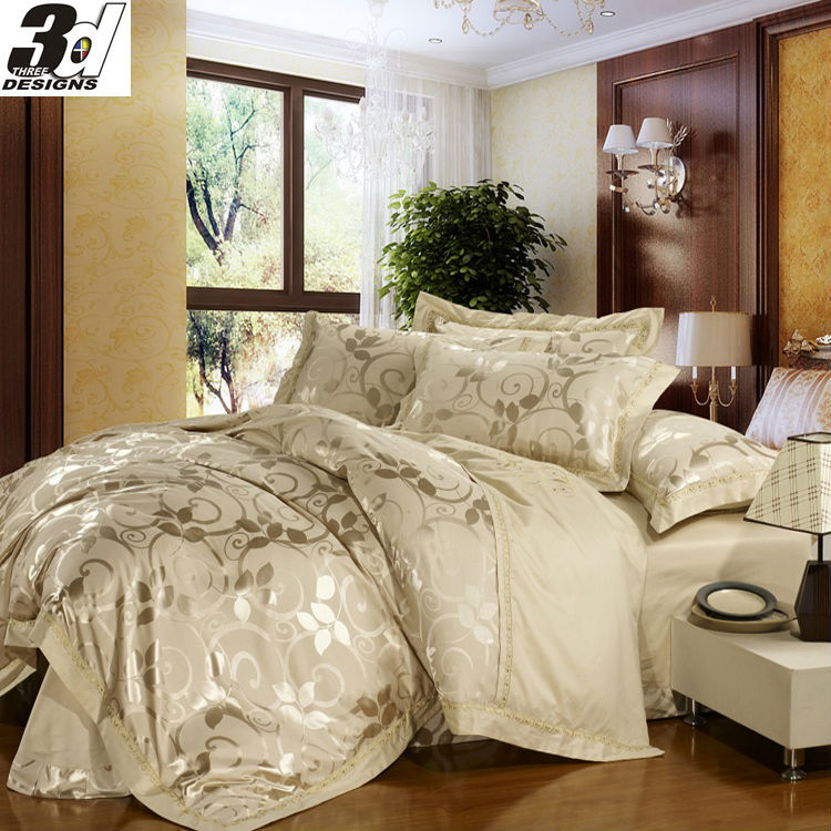 jacquard 4pcs bedding set luxury silk bedclothes cotton bed linen sets