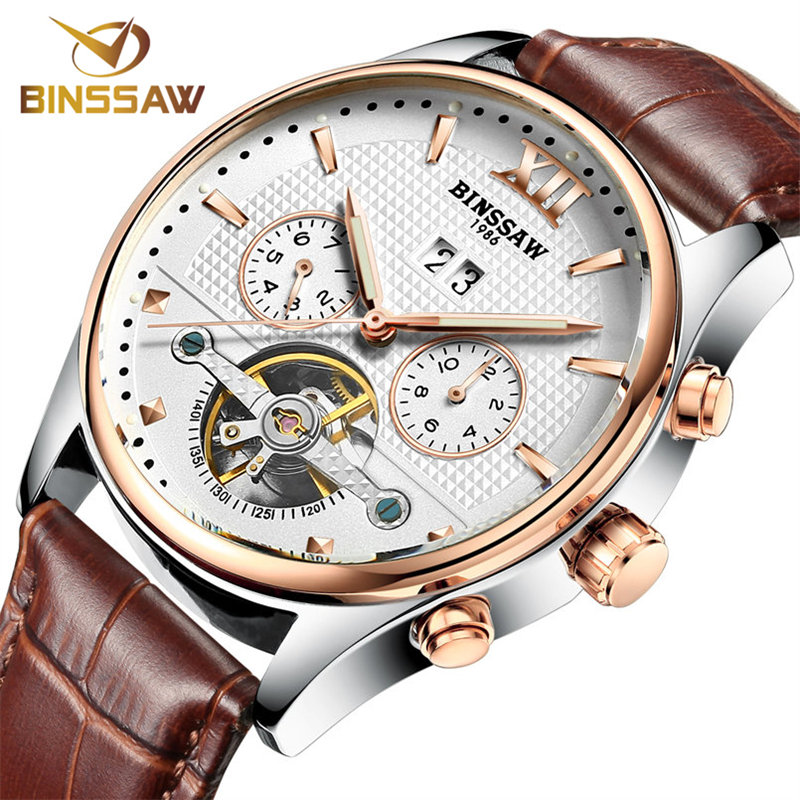 Фотография BINSSAW Luxury Brand Date 24 Hours Leather Skeleton Watch Automatic Mechanical Man Watches Men Military Army Business Relogio
