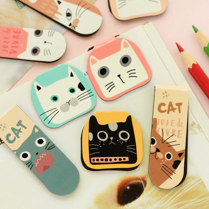 2Pcs/Pack New Various Lovely Cat Magnet Bookmark Paper Clip School Office Supply Escolar Papelaria Gift Stationery H1790(China (Mainland))
