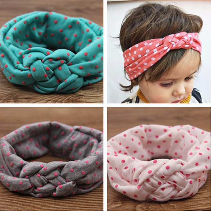 1 pieces Baby Printing Knot Hair Band Baby Girls Headband Ribbon Elasticity Ferret Hair Accessories Headwear W146(China (Mainland))