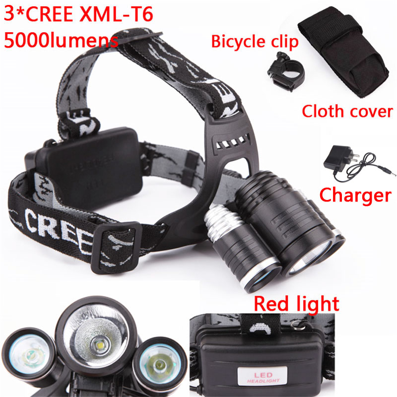 5000LM High PowerCREE XML T6LED Rechargeable Headlight 4 Modes Headlamp Lamps For Hunting Outdoor Light+AC Charger+Holder+Clip<br><br>Aliexpress