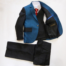 Baby clothes 3 piece Blazers jackets set for Boys Wedding dress Kids Patchwork formal suits Boys Blazers suits terno infantil