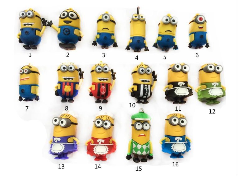 3D Cartoon Despicable Me 2 Minions Family USB Flash Drive U Disk Memory Pen Drive GIFT Key creativo 8GB 16GB 32GB(China (Mainland))