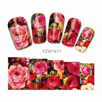 WUF 1 Sheet Nail Art Water Transfer Sticker Charming Red Rose Design Nail Wraps Full Cover Sticker Tips Nails Supplies Decal