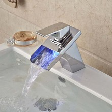 Newly Contemporary Widespread Bathroom Basin Sink Faucet Color Changing LED Chrome Polished Mixer Tap Single Handle Deck Mounted(China (Mainland))