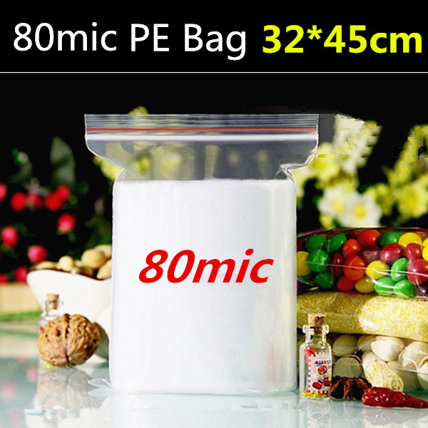 50pcs 32cm*45cm*80micron large plastic gift package, plastic zipper bag, outside use clothes bag(China (Mainland))