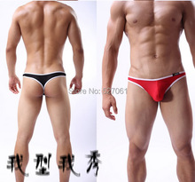 1pc Super Sexy Men Thong Underwear Bulge Pouch T-back Sexy Bikini Mens G-String Briefs# 6Colors(China (Mainland))