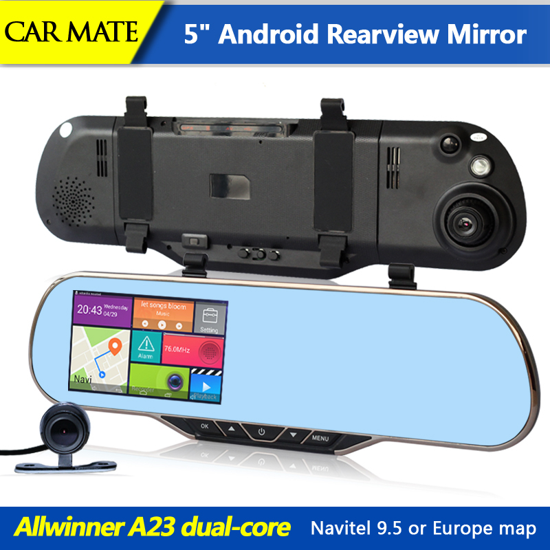 New 5 Inch Android Car dvrs rearview mirror video recorder Dual Camera GPS Navigation Rear view Night Vision WIFI Built in 8GB(China (Mainland))