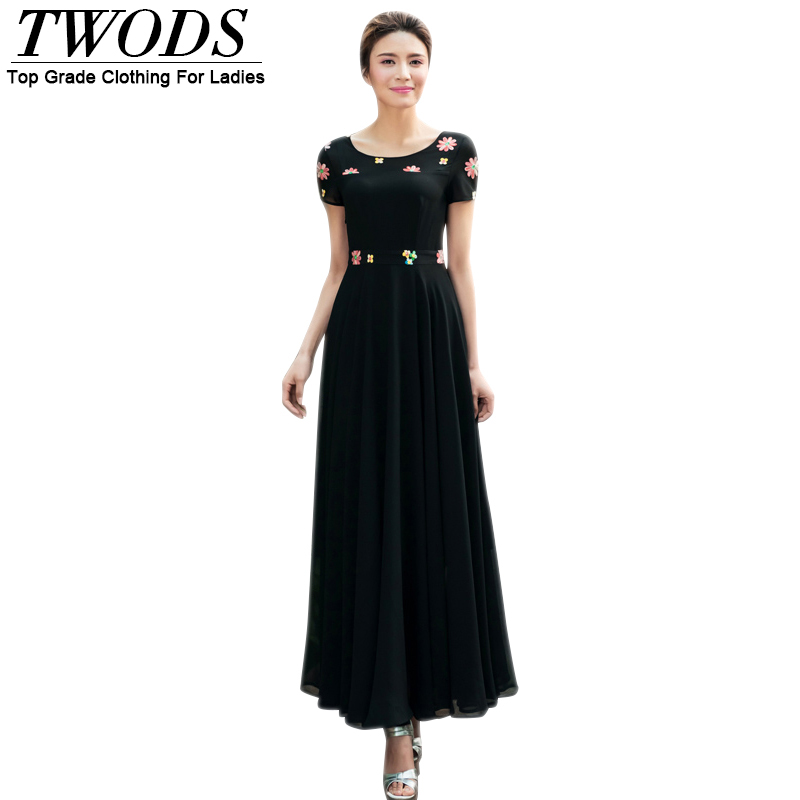 Twods Flower Embellished Chiffon Women Summer Long Dress Short Sleeve O-neck Swing Maxi Dresses Plus Size S To 4XL Vestidos