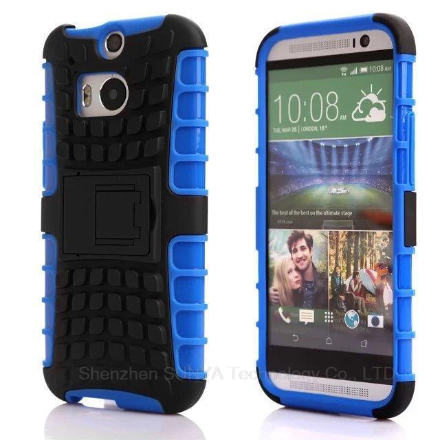 Hybrid Armor Heavy Duty Shockproof Case For HTC One M8 2in1 Hard Plastic Layer TPU Gel Skin Cover Kickstand Mobile Phone Cover(China (Mainland))