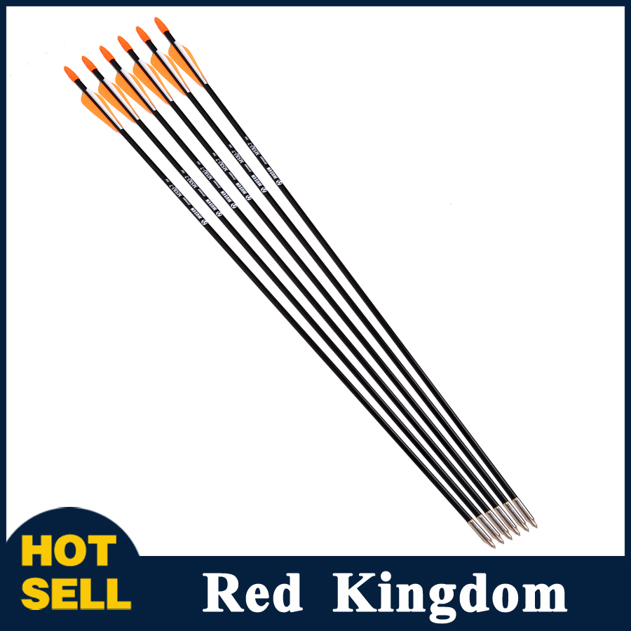 6pcs lot Fiberglass Arrow with Orange Plastic Feather for Recurve Bow Long Bow Arrow Hunting and