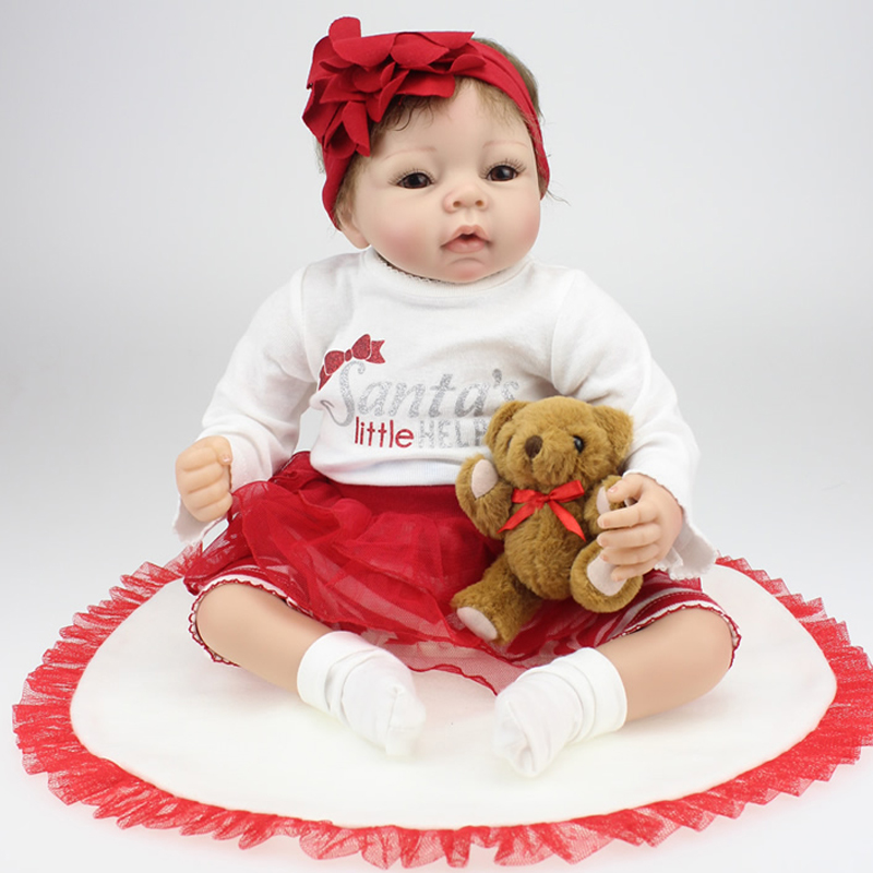 22 Inches 55CM Lovely Silicone Reborn Baby Dolls Realistic Hobbies Handmade Baby Alive Doll For Girls Safe Classic Toys <br><br>Aliexpress