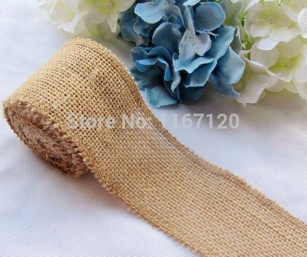 Free shipping,4roll/lot 3m/roll total 12m Natural Hessian Burlap Ribbon Rustic Wedding Decorations Gift Wrapping 5cm Wide FG23-4(China (Mainland))
