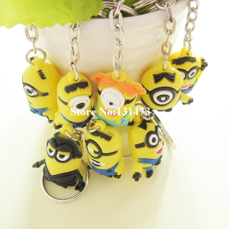 10pcs/lot Creative Gift Cute Cartoon Despicable Me Key Chain Daddy Thief Little Yellow People Mini Keychain(China (Mainland))