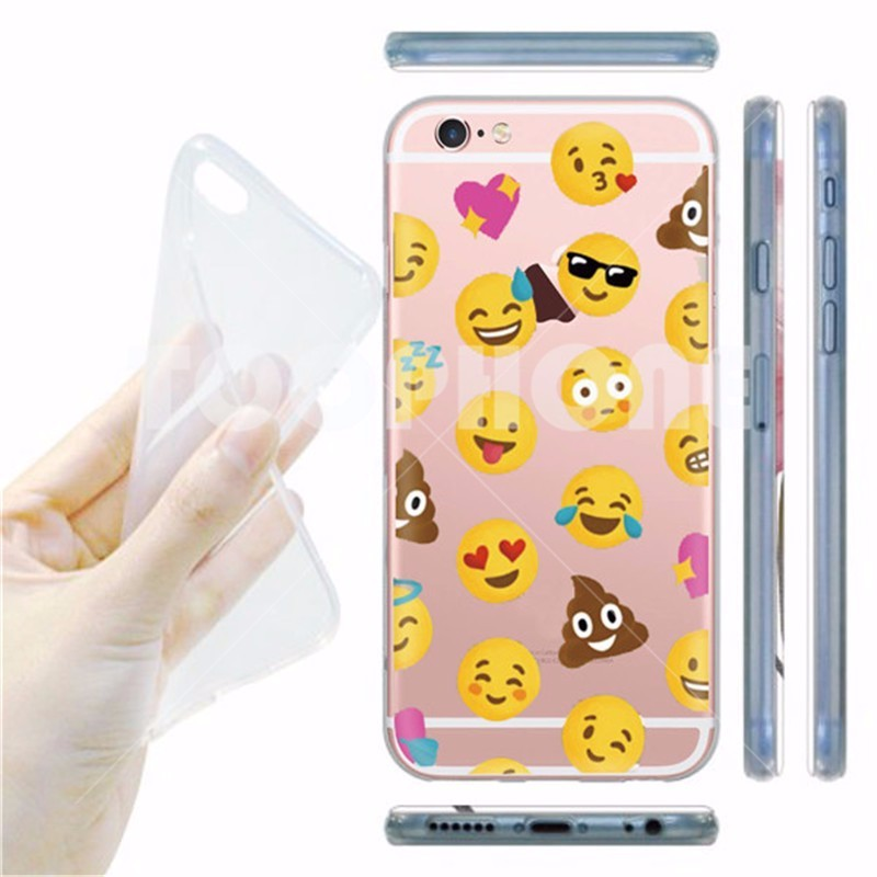 Transparent Funny Face Design Facebook Emoji Soft Phone Case Back Cover for Apple iPhone 5S 6 6S 6Plus High Quality TPU Coque
