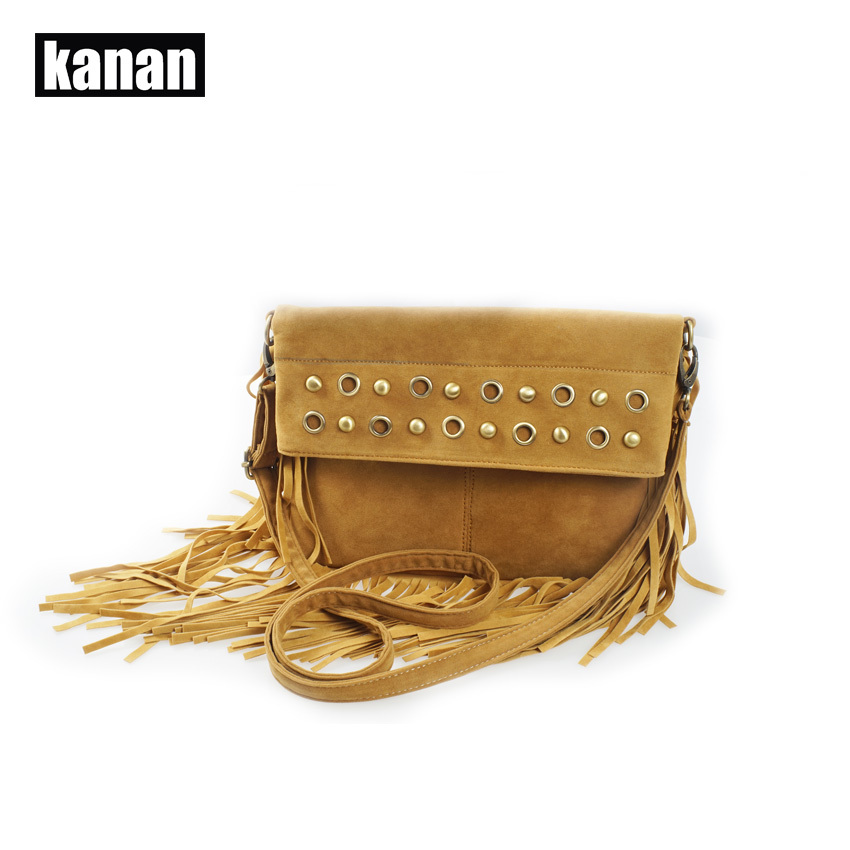 KANAN 2015 new fashion women leather handbags fringed shoulder bag fold velour tassel bag messenger bag bolsa de flecos hot sale(China (Mainland))
