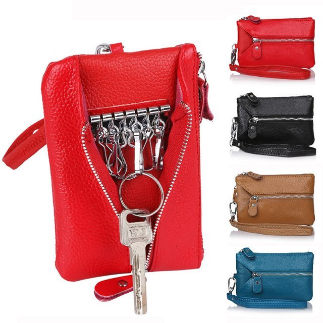 Women Genuine Leather key bag keys holder 2015 multifunctional wristlet clutch bag coin bags wallet Cow PU leather evening Purse<br><br>Aliexpress