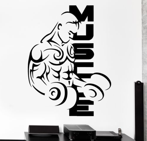 2015 Fitness Vinyl Wall Decals Sport Muscle Man Bodybuilding Dumbell Barbell Mural Art Wall Sticker Fitness Centre Home Decor(China (Mainland))