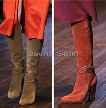 2015 Brand New Style Orange/ Khaki Winter Women Boots Chunky Leather Suede Knee High Boots For Women Winter Boots Shoes Woman(China (Mainland))