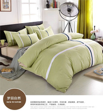 Hot green beige white black ribbon cross 4pcs brief bedding sets 100% cotton 60s yarn bed set duvet cover sheet pillowcase B2801(China (Mainland))