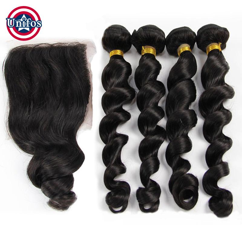 Peruvian Virgin Hair With Closure Loose Wave 4 piece Peruvian Human Hair And Closure Peruvian Lace Frontal Closure With Bundles
