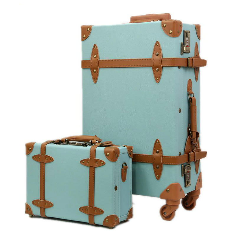 Fashion women travel suitcase pu leather vintage luggage for The vintage suitcase