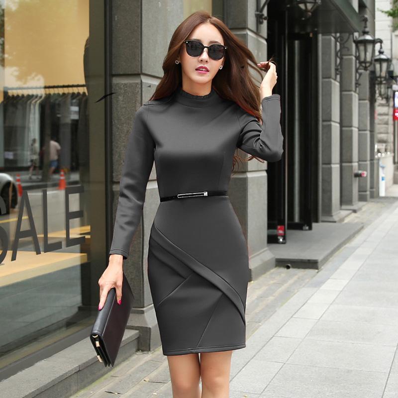 Plus Size XXL Women Dress Winter 2015 Fashion Black OL Dresses Stand Collar Patchwork Long Sleeve Casual Bodycon Dress VestidosОдежда и ак�е��уары<br><br><br>Aliexpress
