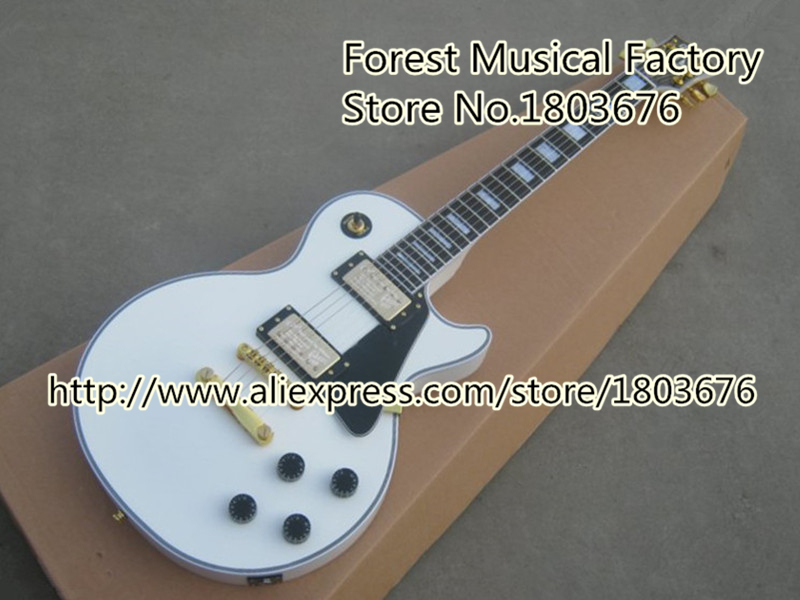 Free Shipping Chinese White 50th Anniversary L-P Custom Electric Guitar Left Handed Custom Available In Stock(China (Mainland))