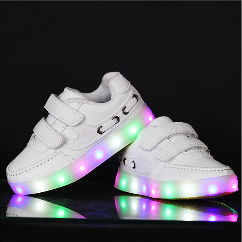 2016 Led Shoes Kids Sneakers Fashion Luminous Lighted Colorful LED lights Children Shoes Casual Flat Girls Boy Shoes Eur25-37<br><br>Aliexpress