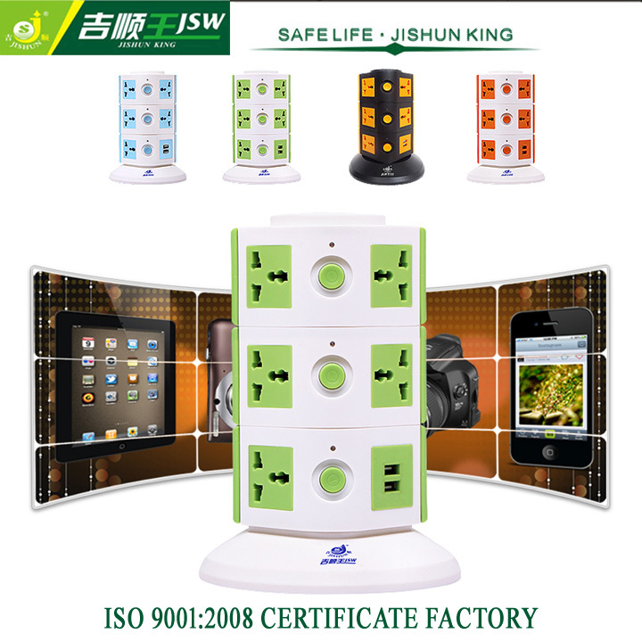 Good Quality 11 Outlet with USB Tower Extension Socket Standard Grounding Individual Switch with Overload Protector 2500W MAX(China (Mainland))
