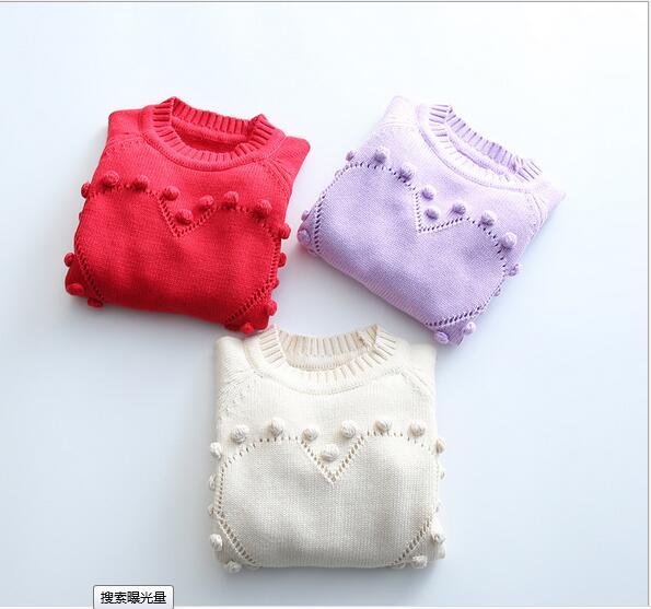 2016 Kids Girls Knit Sweart Heart Sweaters Baby Girl Spring Crochet Knitting Ball Jumper Pullover Childrens clothing<br><br>Aliexpress