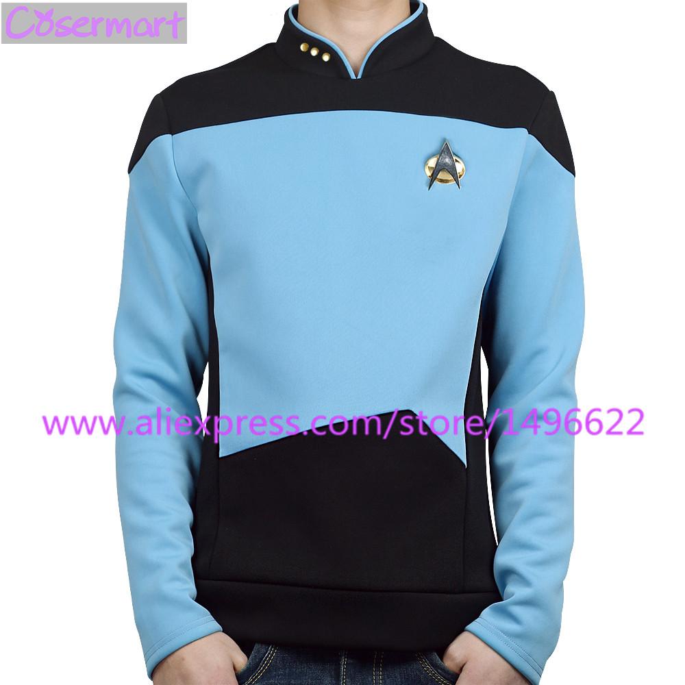 Star Trek TNG The Next Generation Red Yellow Blue Shirt Uniform Cosplay Costume For Men Coat Halloween Party (4)