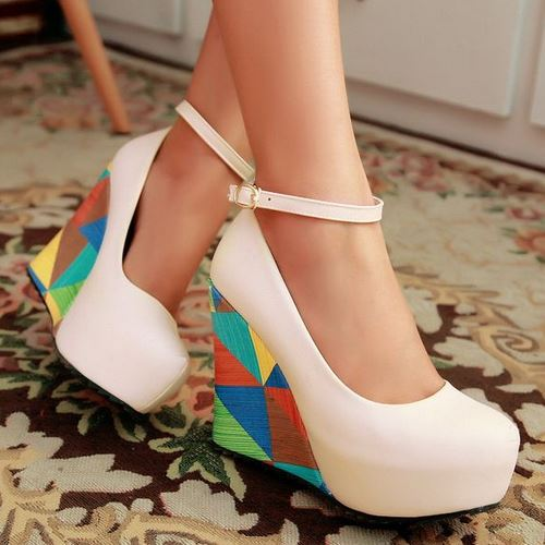 Fashion 2015 High Wedges Ankle Strap Summer Pumps Shoes Grid Print High Increased Heels Summer Pumps Shoes For Women 2015 Dress