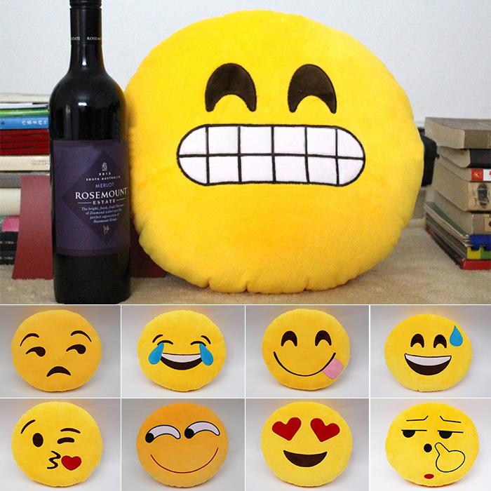 16 Styles Cute Emoji PIllow Smile Circle Shape Cojines Cushion Expression Ikea Sofa Tray Plush Soft Round Cushions Toys / A3551(China (Mainland))