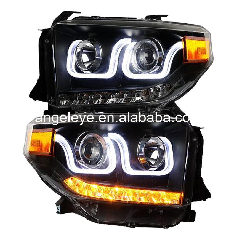 For TOYOTA for Tundra Full LED Head Lamp 2014-2015 year U style Angel Eye for original car with HID KIT LF(China (Mainland))