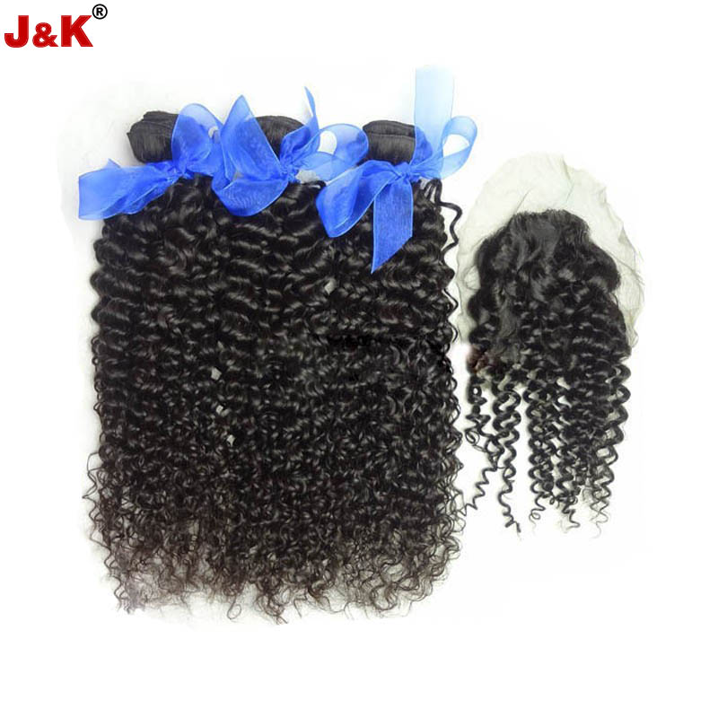 Brazilian Kinky Curly Virgin Hair with Closure Hair Bundles with Lace Closure Brazilian Hair Weave Bundles Human Hair Closure