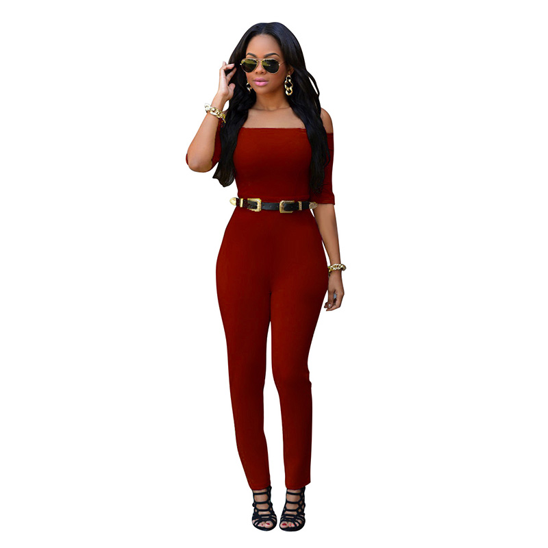 Romper Jumpsuit Hot Sale Women 2016 Plus Size Summer Rompers Womens Jumpsuit Slash Neck Women Sexy Jumpsuits With Belt Clothes(China (Mainland))