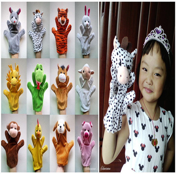 Creative 2pc/lot Educational Toys Plush Puppets Baby Toys Girl's Soft Toys Cute Hand Puppets,Glove Puppets, Toys for Boys, Girls(China (Mainland))