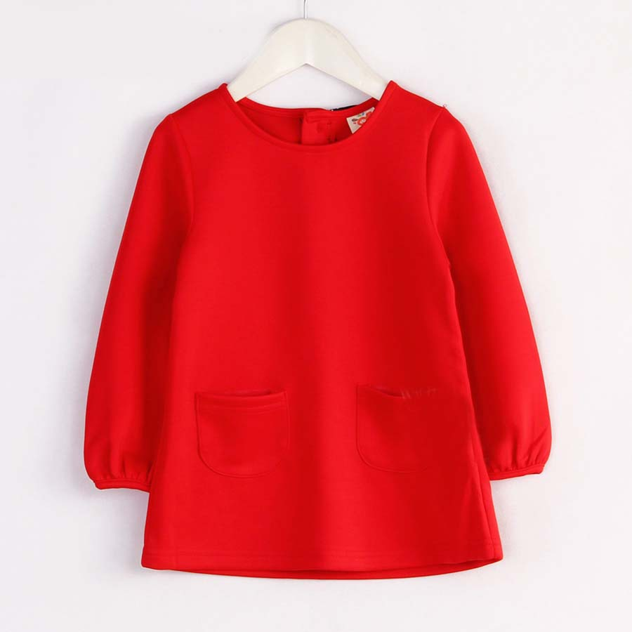 2015 Spring brief style baby girls solid color worsted cotton-made dress with ribbon long-sleeve dress A1358(China (Mainland))