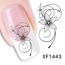 Hot New New Arrival Elegant Lovely Women Black Flower Nail Water Stickers DIY   (China (Mainland))