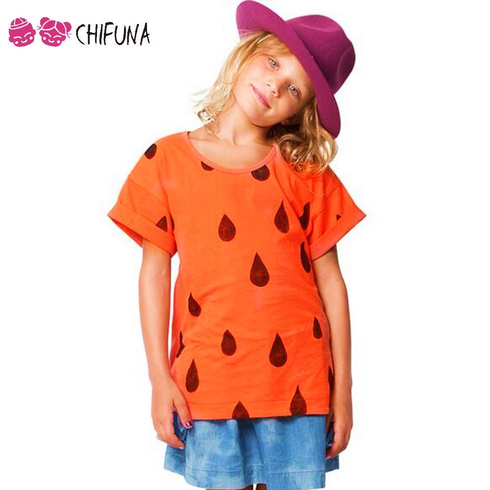 New Fashion 2016 Children T-Shirt Clothing Summer Custom Casual T Shirts Orange Raindrops Printed Boys Girls Short T-Shirts(China (Mainland))