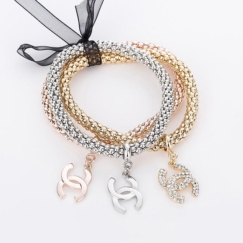 2016 new elastic charm bracelets for women rhinestones rose gold/silver plated zinc alloy female chain link bracelet MDJB035(China (Mainland))