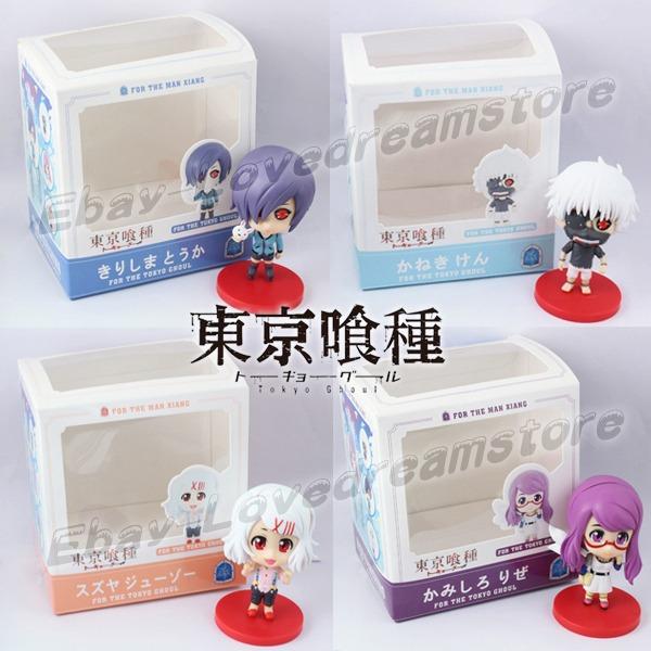 Japanese Animation Set Tokyo Ghoul Kaneki Ken/REI/Sendasly/Kirishima Toka 8cm Figure Toy Box & - elowprice store