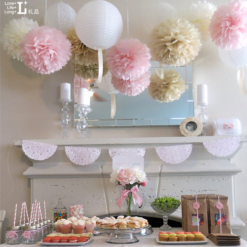 TH 50pcs Craft 3'' Paper Flowers Pom Poms Balls Lanterns For Birthday Party Wedding Home Decorations Baby Showers Supplies(China (Mainland))