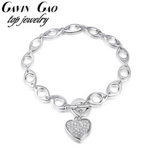 2016 ROXI Brand Fashion Crystal Bracelets Bangles For Women Platinum White Gold Plated Heart Pendant Bracelets Charms Jewelry(China (Mainland))