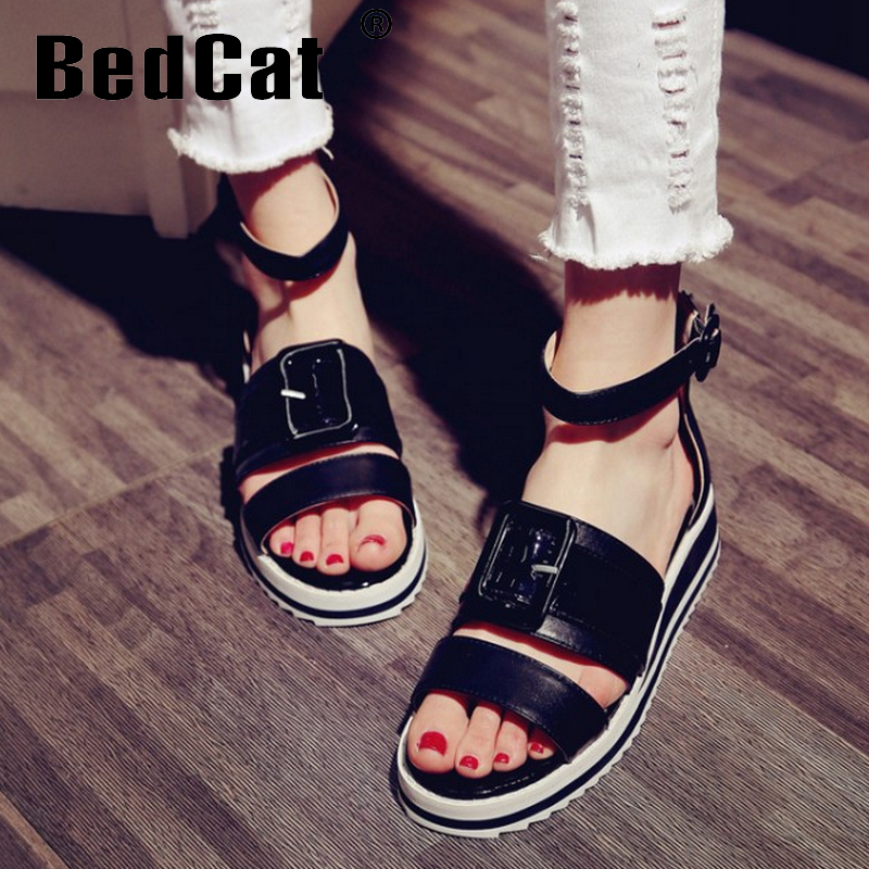 women real genuine leather fretwork ankle strap summer flat sandals brand sexy fashion heeled ladies shoes size 33-43 R6549<br><br>Aliexpress