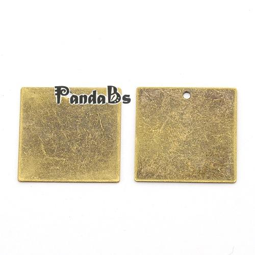 Metal Tags, Brass Blank Stamping Tag Pendants, Square, Antique Bronze, 20x20x0.4mm, Hole: 1mm